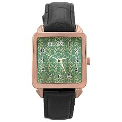 Vintage Wallpaper Rose Gold Leather Watch