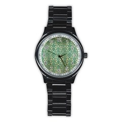 Vintage Wallpaper Sport Metal Watch (Black)