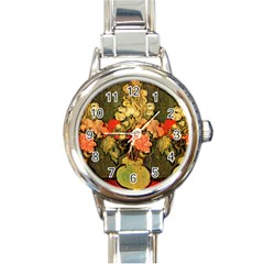 Still Life Vase With Rose Mallows By Vincent Van Gogh 1890  Round Italian Charm Watch
