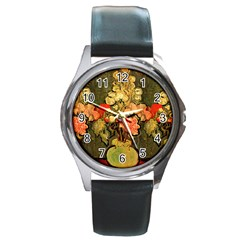Still Life Vase With Rose Mallows By Vincent Van Gogh 1890  Round Metal Watch (Silver Rim)