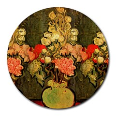 Still Life Vase With Rose Mallows By Vincent Van Gogh 1890  8  Mouse Pad (Round)