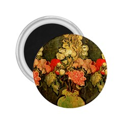 Still Life Vase With Rose Mallows By Vincent Van Gogh 1890  2.25  Button Magnet