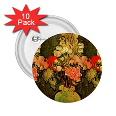 Still Life Vase With Rose Mallows By Vincent Van Gogh 1890  2.25  Button (10 pack)