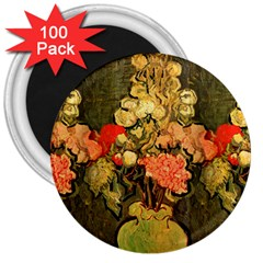 Still Life Vase With Rose Mallows By Vincent Van Gogh 1890  3  Button Magnet (100 pack)
