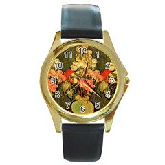 Still Life Vase With Rose Mallows By Vincent Van Gogh 1890  Round Metal Watch (Gold Rim)