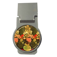 Still Life Vase With Rose Mallows By Vincent Van Gogh 1890  Money Clip (Round)