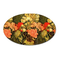 Still Life Vase With Rose Mallows By Vincent Van Gogh 1890  Magnet (Oval)