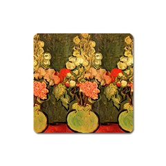Still Life Vase With Rose Mallows By Vincent Van Gogh 1890  Magnet (Square)