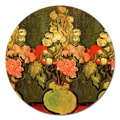 Still Life Vase With Rose Mallows By Vincent Van Gogh 1890  Magnet 5  (Round)