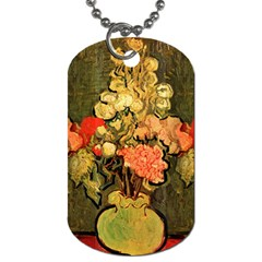 Still Life Vase With Rose Mallows By Vincent Van Gogh 1890  Dog Tag (One Sided)
