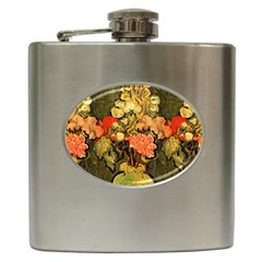 Still Life Vase With Rose Mallows By Vincent Van Gogh 1890  Hip Flask