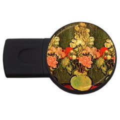 Still Life Vase With Rose Mallows By Vincent Van Gogh 1890  1GB USB Flash Drive (Round)