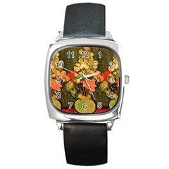 Still Life Vase With Rose Mallows By Vincent Van Gogh 1890  Square Leather Watch