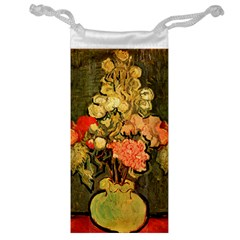 Still Life Vase With Rose Mallows By Vincent Van Gogh 1890  Jewelry Bag
