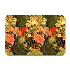 Still Life Vase With Rose Mallows By Vincent Van Gogh 1890  Small Door Mat