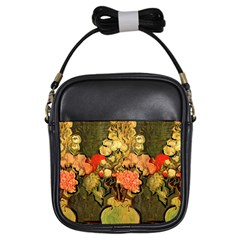 Still Life Vase With Rose Mallows By Vincent Van Gogh 1890  Girl s Sling Bag