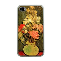 Still Life Vase With Rose Mallows By Vincent Van Gogh 1890  Apple iPhone 4 Case (Clear)