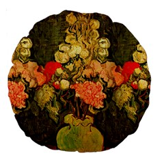Still Life Vase With Rose Mallows By Vincent Van Gogh 1890  18  Premium Round Cushion