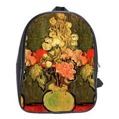 Still Life Vase With Rose Mallows By Vincent Van Gogh 1890  School Bag (XL)