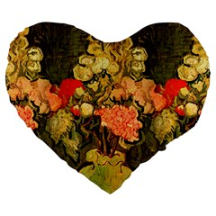 Still Life Vase With Rose Mallows By Vincent Van Gogh 1890  19  Premium Heart Shape Cushion