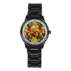 Still Life Vase With Rose Mallows By Vincent Van Gogh 1890  Sport Metal Watch (Black)