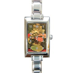 Still Life Vase With Rose Mallows By Vincent Van Gogh 1890  Rectangular Italian Charm Watch