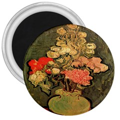 Still Life Vase With Rose Mallows By Vincent Van Gogh 1890  3  Button Magnet