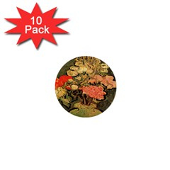 Still Life Vase With Rose Mallows By Vincent Van Gogh 1890  1  Mini Button (10 pack)