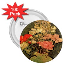 Still Life Vase With Rose Mallows By Vincent Van Gogh 1890  2.25  Button (100 pack)