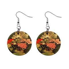 Still Life Vase With Rose Mallows By Vincent Van Gogh 1890  Mini Button Earrings