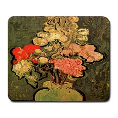 Still Life Vase With Rose Mallows By Vincent Van Gogh 1890  Large Mouse Pad (Rectangle)