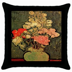 Still Life Vase With Rose Mallows By Vincent Van Gogh 1890  Black Throw Pillow Case