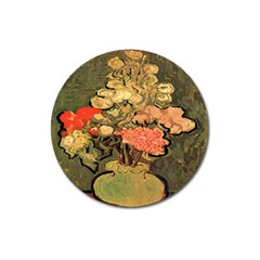 Still Life Vase With Rose Mallows By Vincent Van Gogh 1890  Magnet 3  (Round)