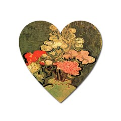 Still Life Vase With Rose Mallows By Vincent Van Gogh 1890  Magnet (Heart)