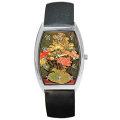 Still Life Vase With Rose Mallows By Vincent Van Gogh 1890  Tonneau Leather Watch