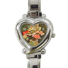Still Life Vase With Rose Mallows By Vincent Van Gogh 1890  Heart Italian Charm Watch