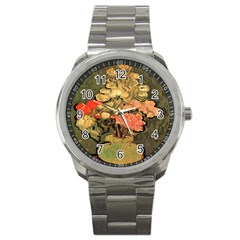 Still Life Vase With Rose Mallows By Vincent Van Gogh 1890  Sport Metal Watch