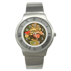 Still Life Vase With Rose Mallows By Vincent Van Gogh 1890  Stainless Steel Watch (Unisex)