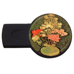 Still Life Vase With Rose Mallows By Vincent Van Gogh 1890  4GB USB Flash Drive (Round)