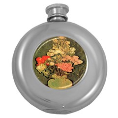 Still Life Vase With Rose Mallows By Vincent Van Gogh 1890  Hip Flask (Round)