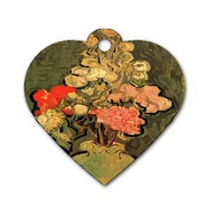 Still Life Vase With Rose Mallows By Vincent Van Gogh 1890  Dog Tag Heart (One Sided)