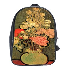 Still Life Vase With Rose Mallows By Vincent Van Gogh 1890  School Bag (Large)