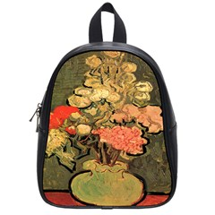 Still Life Vase With Rose Mallows By Vincent Van Gogh 1890  School Bag (Small)