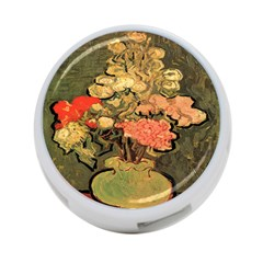 Still Life Vase With Rose Mallows By Vincent Van Gogh 1890  4-Port USB Hub (One Side)