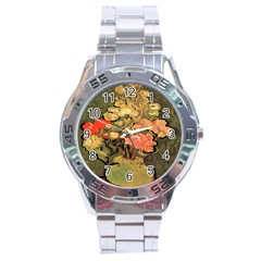 Still Life Vase With Rose Mallows By Vincent Van Gogh 1890  Stainless Steel Watch (Men s)