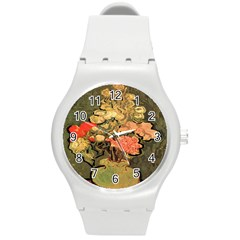 Still Life Vase With Rose Mallows By Vincent Van Gogh 1890  Plastic Sport Watch (Medium)