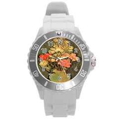 Still Life Vase With Rose Mallows By Vincent Van Gogh 1890  Plastic Sport Watch (Large)