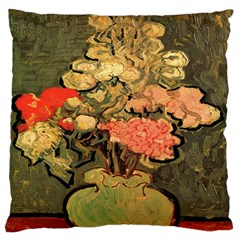 Still Life Vase With Rose Mallows By Vincent Van Gogh 1890  Large Cushion Case (Two Sides)