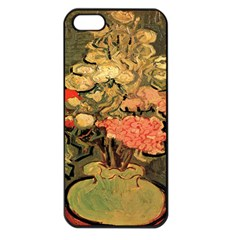 Still Life Vase With Rose Mallows By Vincent Van Gogh 1890  Apple iPhone 5 Seamless Case (Black)