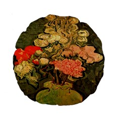Still Life Vase With Rose Mallows By Vincent Van Gogh 1890  15  Premium Round Cushion